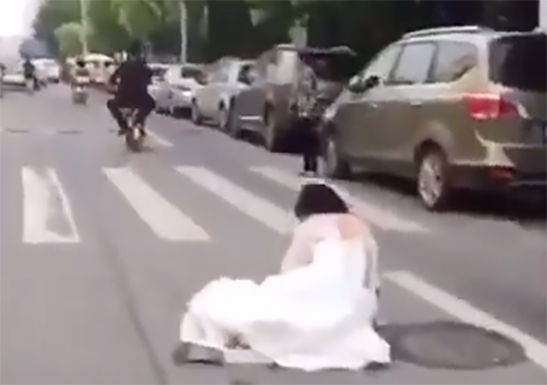 Bride falls from electric scooter and groom continues driving away3 min read