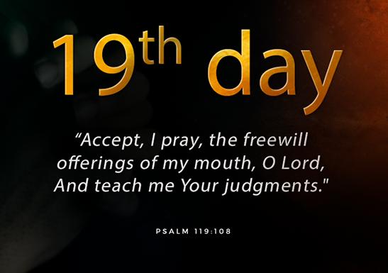 19th day fast of Daniel