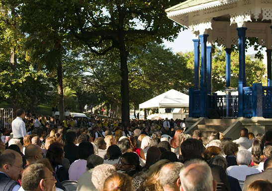 Worship at the Bandstand in Meier