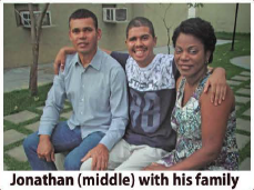 Jonathan with his family – he was 2 months in coma and 7 months in a vegetative state
