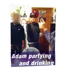 "Adam partying and drinking. ""This Time, I Chose God Over the Drinks"""
