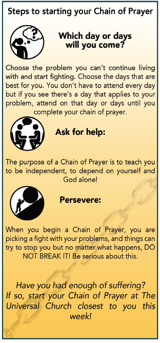 Steps to start your chain of prayer – Which days will you come? Choose the problem you want to tackle and choose the days that are best for you that applies to your problem. –Ask for help: Speak with the pastor for guidance and counseling. – Persevere: When you begin a Chain of Prayer, you are picking a fight with your problems, and things can try to stop you but no matter what happens, Do Not Break It. Be serious about this.