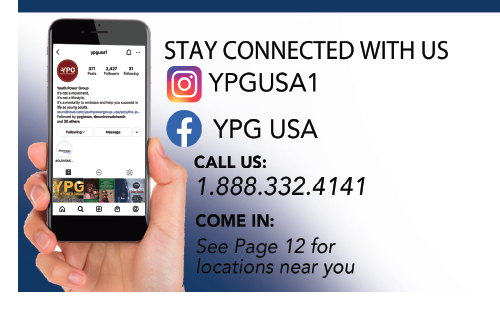 stay connected with us. Instagram: YPGUSA1 Facebook: YPG USA Call us: 1-888-332-4141